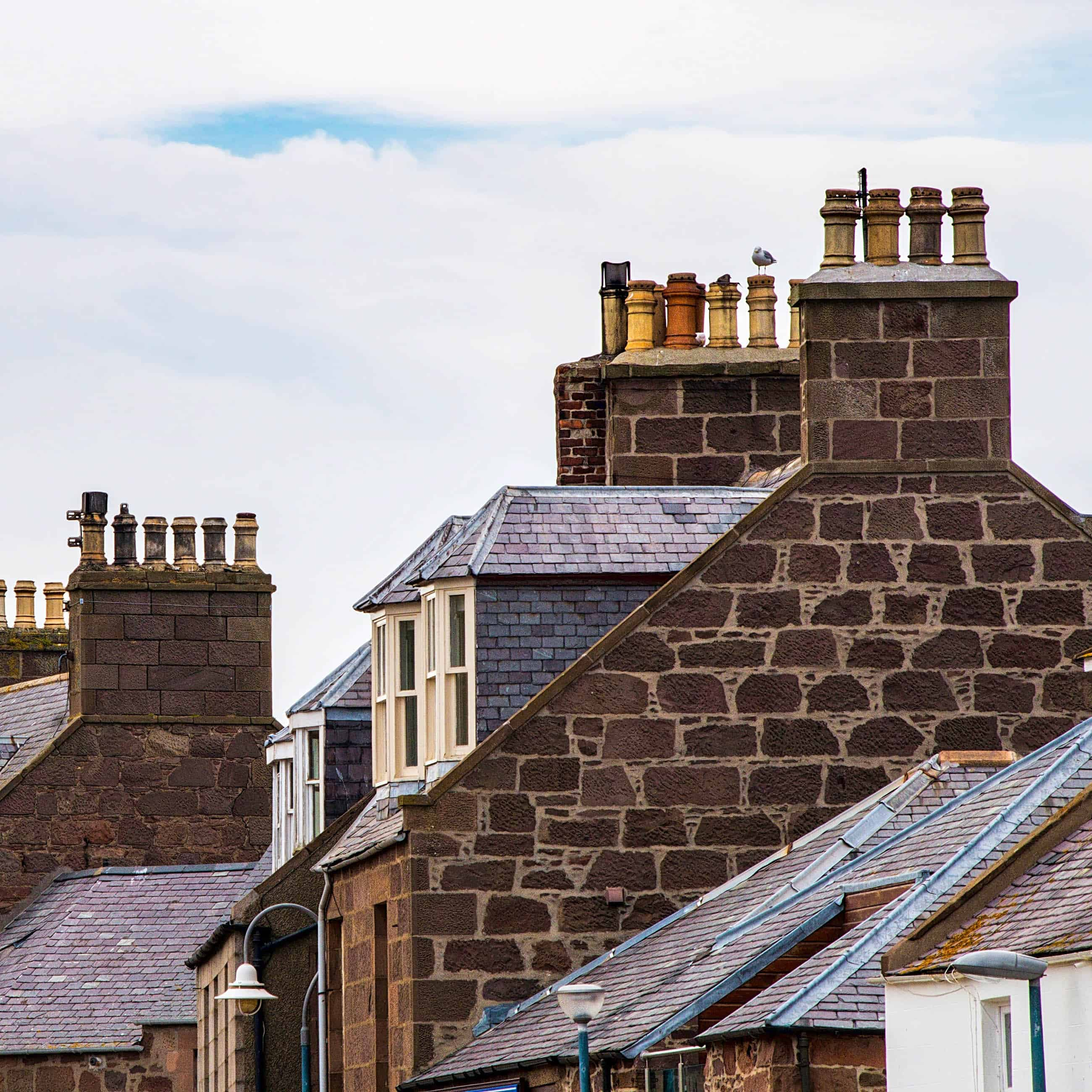 roof tops with chimney pots